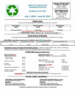 Fee Schedule effective 7/1/2020